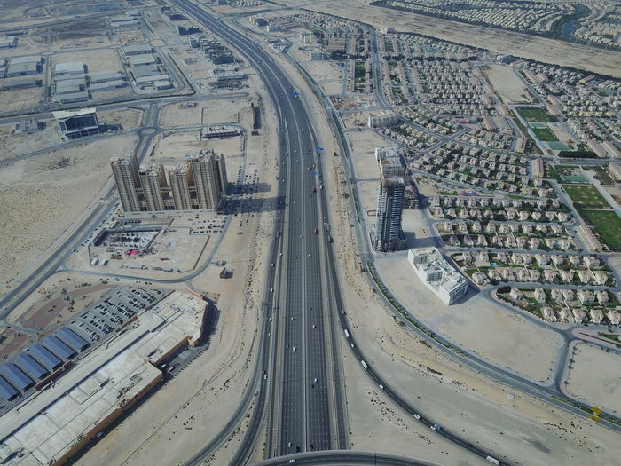 Abu Dhabi Construction Desert Aerial View Architecture City Day High Angle View No People Outdoors Road Sand Transportation