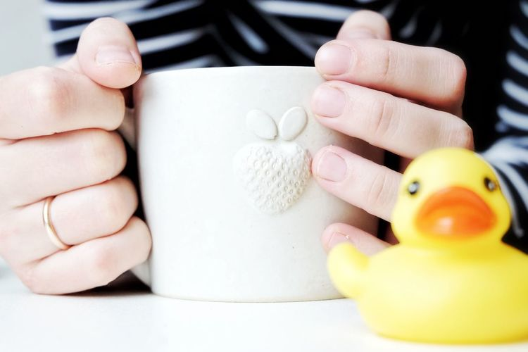 Close-Up Of Hand Holding Coffee Cup With Toy Animal In Foreground