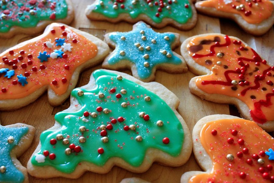 Sweet holiday treats made with love Baked Baked Pastry Item Celebration Christmas Christmas Decoration Christmas Tree Close-up Cookie Dessert Family Time Food Food And Drink Pastry Dough Powdered Sugar Ready-to-eat Star Shape Sweet Food Tradition