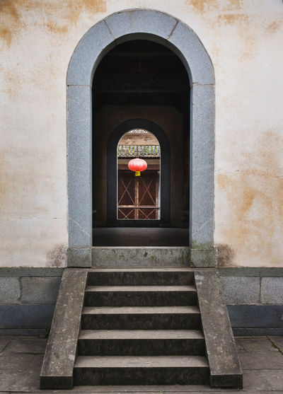 Center Arch Architecture Built Structure Center Chinese Door Entrance Framed Lantern Steps Travel Destinations