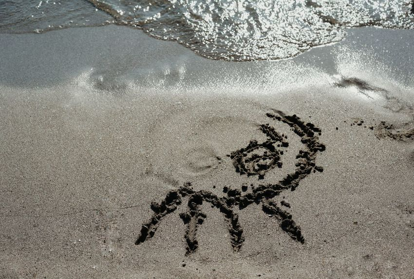Drawing Drawing On Sand Minimal Minimalism Sea Seaside Beach Sand High Angle View Close-up Written Drawn Smiley Face Anthropomorphic Face Representation Shore Brush