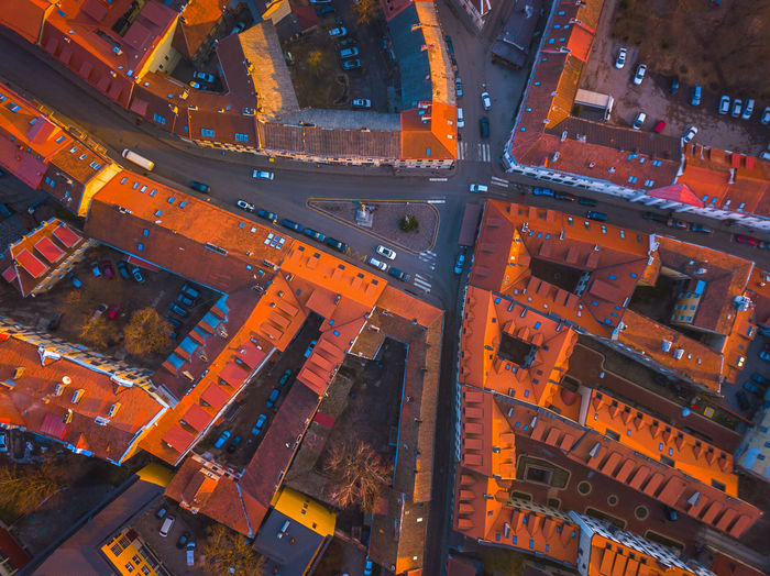 VILNIUS, LITHUANIA - aerial view of Vilnius old city Architecture Building Exterior High Angle View Built Structure City No People Aerial View Roof Transportation Illuminated Cityscape Night Road Full Frame Residential District Building Mode Of Transportation Outdoors Orange Color Street Vilnius Lithuania Above Red Roof