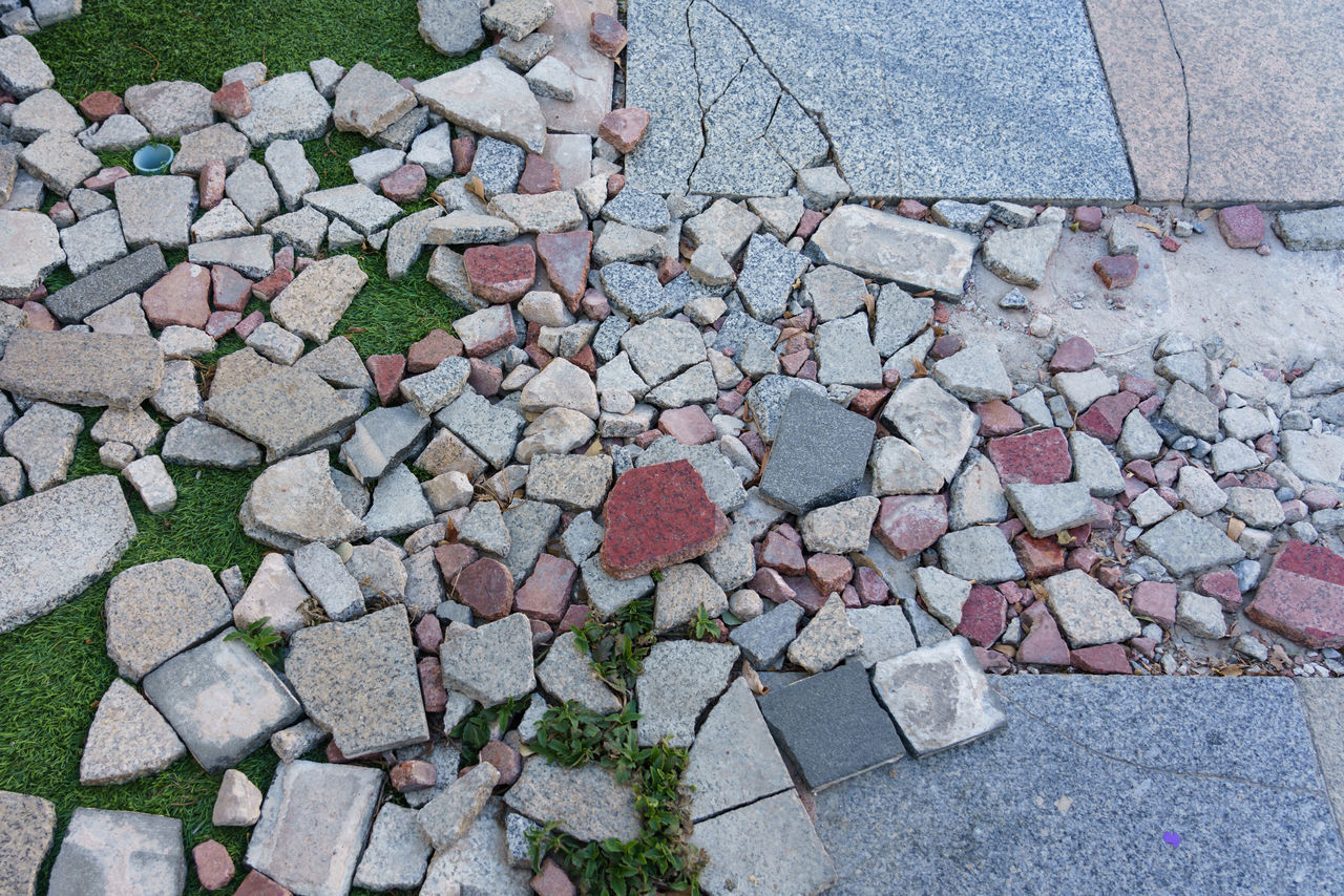 HIGH ANGLE VIEW OF MULTI COLORED STONES ON FOOTPATH