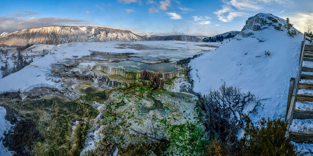New blue spring at mammoth hot springs in yellowstone national park