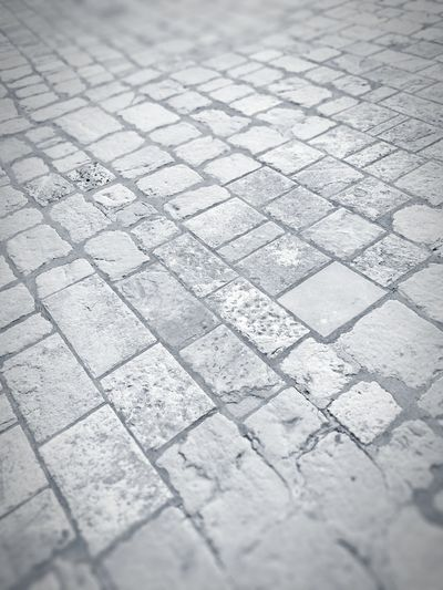 Black And White Black & White Blackandwhite No People Floortraits Floor Stone Tile Close-up Ground Cobbled Footpath Textured  Cobblestone
