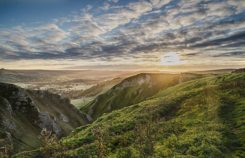 Lkandscape Peak District  Winnats Pass Castleton Sky Cloud - Sky Grass Green Blue Clouds Sunrise