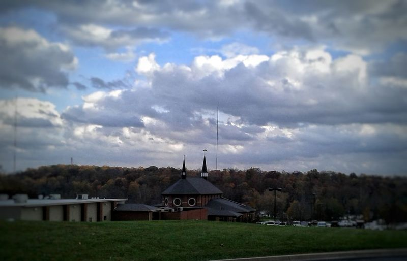 Architecture Cloud - Sky Built Structure Sky Grass No People Building Exterior Outdoors Rural Scene Landscape Day Nature The Great Outdoors - 2017 EyeEm Awards EyeEmNewHere The Week On EyeEm Floyds Knobs, IN St. Mary Of The Knobs Catholicism Catholic Arcitecture EyeEm Ready