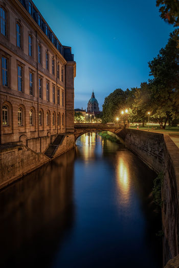New town hall and leinecastle in hannover Architecture Built Structure Building Exterior Illuminated Sky Blue No People Building Reflection Waterfront History Tourism The Past Tree Outdoors Hannover New Town Hall LeineSchloss Landtag Blue Hour Leine EyeEm Best Shots River Lower Saxony Altstadt