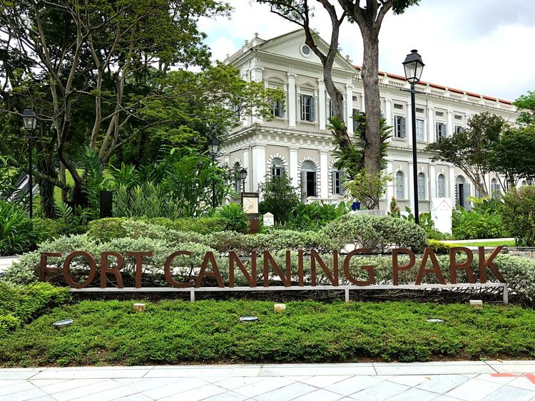 Lettering Letters Escalator House Park Fort Canning Park Singapore Tree Architecture Building Exterior Built Structure Plant Outdoors Day Statue Growth Sky No People