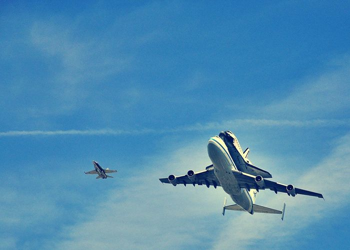 Piggyback ride Los Angeles, California Flying Low Angle View Sky Endeavour