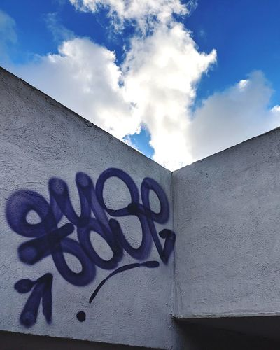 Low angle view of graffiti on wall