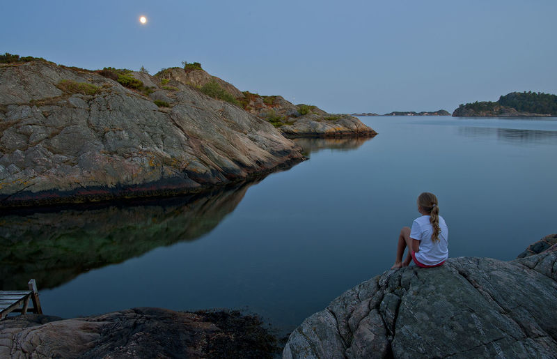 Beauty In Nature Blue Calm Child Coastline Evening Girl Landscape Moonlight Nature Night Norge Norway One Person Outdoors Scandinavian Summer Søgne Sørlandet Tranquility