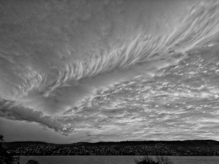 Atmospheric Mood Cloud Cloud - Sky Cloudscape Cloudy Overcast Silhouette Sky Tranquility Weather Atmosphere Dusk Majestic Moody Sky Sunrise HDR Black & White Blackandwhite Hdr_Collection Lake Lake Of Zurich Lake View Switzerland The Great Outdoors With Adobe