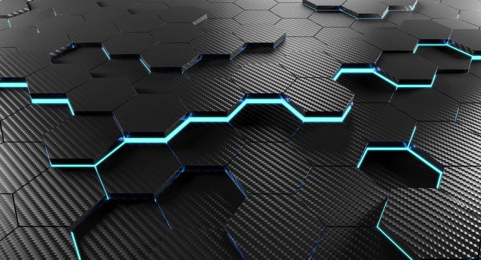 Hexagon Carbon Carbon-fiber Light Geometry Pattern Background Abstract Design Shape Art 3D Geometric Wallpaper Graphic Concept Modern Structure Texture Light Mosaic Hexagonal Tile Honeycomb Style Illustration Polygon 3d-rendering Render Rendering