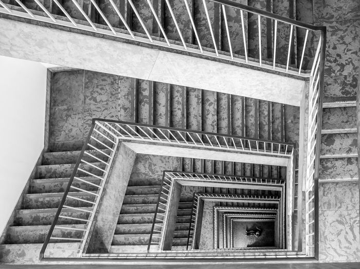 Architecture Building Exterior Built Structure Day Fire Escape Indoors  Low Angle View No People Outdoors Railing Spiral Staircase Stairs Steps Steps And Staircases The Secret Spaces The Architect - 2017 EyeEm Awards Black And White Friday The Graphic City The Architect - 2018 EyeEm Awards The Architect - 2018 EyeEm Awards 17.62°