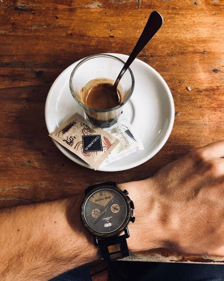 Florence - coffee o'clock Bella Italia Wooden Table Espresso Coffee Originalgrain Table Clock Food And Drink Time Still Life Coffee High Angle View Wristwatch Wood - Material Coffee - Drink Instrument Of Time Watch