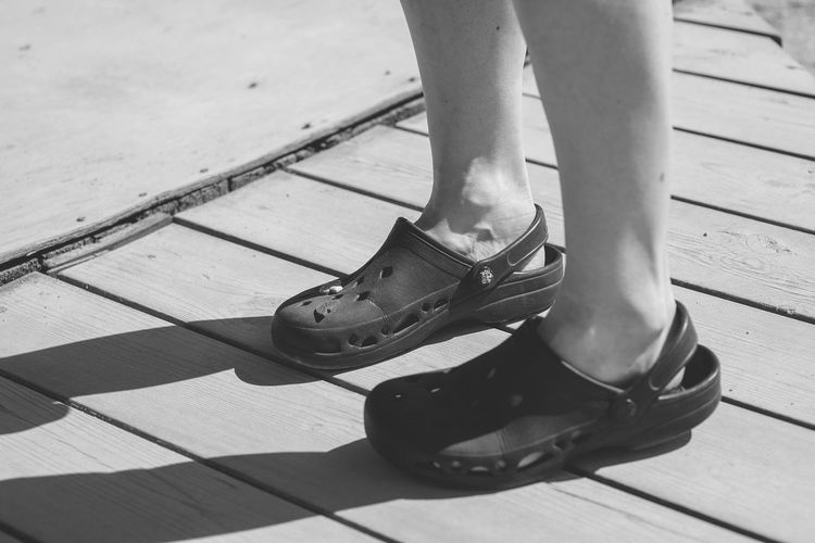 Backgrounds Black And White Casual Shoes Casualstyle Close-up Comfortable Day Human Body Part Human Foot Human Leg Legs Of People Leisure Activity Lifestyles Low Section One Person Outdoors People Real People Shadow Shoe Standing Out Of The Box Let's Go. Together. Sommergefühle