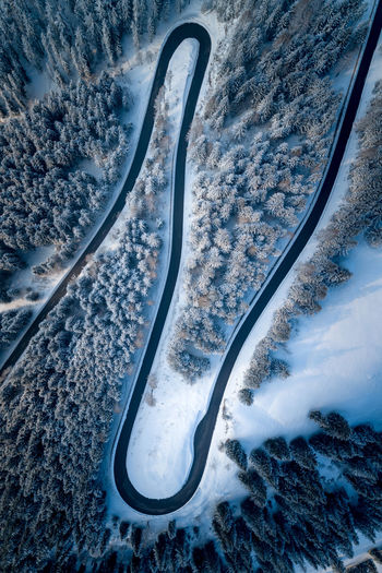 High angle view of road during winter