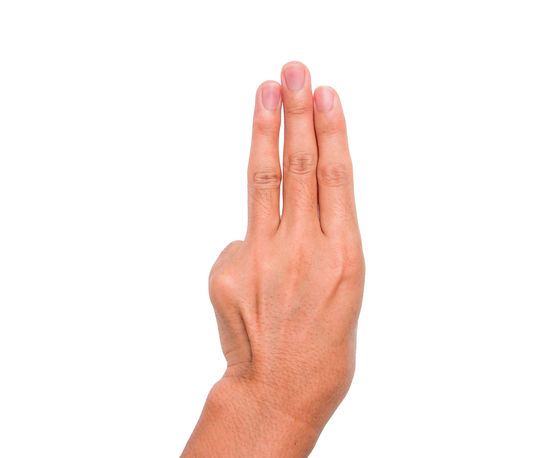 Hand sign of three, third, etc. with white background Communication Conceptual Gestures Human Finger Message Nails Palm Sign Studio Shot Symbol Third Three Thumb Up Wrist
