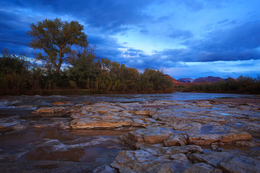 Virgin River at dusk Landscape Nature Outdoors Beauty In Nature Blue Desert Landscapes The Great Outdoors - 2017 EyeEm Awards Zion National Park Stormy Weather Beauty Texture In Nature Beauty In Nature Virgin, UT Rocks Rocky Landscape Fine Art