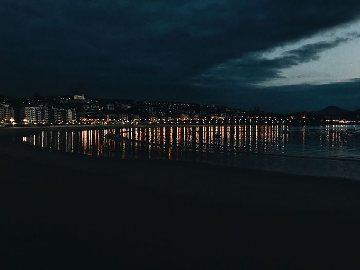 ...and night Sky Night Outdoors Sea Architecture Water Built Structure Beach Cloud - Sky Building Exterior Illuminated City No People Nature Beauty In Nature