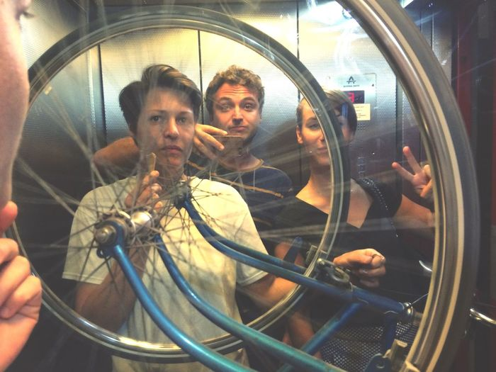 Elevator fun with a Bike Elevator Selfie spinning tires