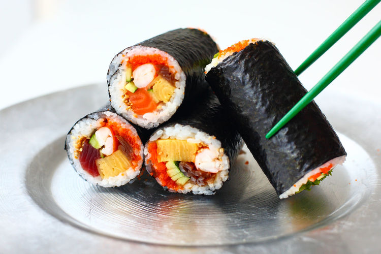 Asian Food Japanese Food Maki Sushi Asian Food Close-up Food Food And Drink Freshness Healthy Eating Japanese Food Maki Roll Plate Ready-to-eat Rice Salmon Sushi Sushi