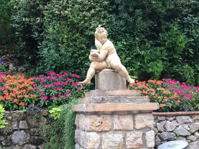 Colorful Flowers Garden Outdoors Park - Man Made Space Putto Sculpture Statue