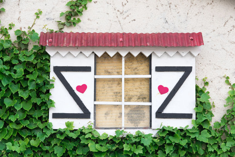 Flap Shutter Heart Hearts Window Romantic Ivy Vintage Plant Leaf Plant Part Green Color Built Structure Architecture Wall - Building Feature Nature No People Day Growth Building Exterior Outdoors Building House Close-up Wood - Material Red