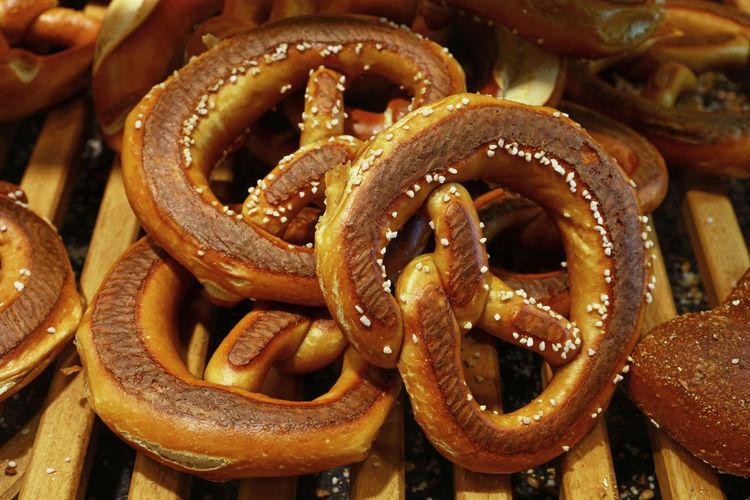 Full frame shot of pretzels