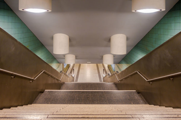 High Angle View Of Stairs In Subway