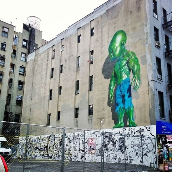 So far, THE sickest Streetart piece I've actually seen! This one is on Mulberry Street in Littleitaly .... insane babyhulk iheartNY emmacphotos thingsisee artfindsme