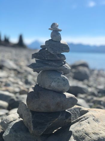 Stonepile Stonepile Stone Stack Balance Pebble Rock - Object Day Sea Focus On Foreground Sky Beach Beauty In Nature Outdoors Nature Tranquil Scene