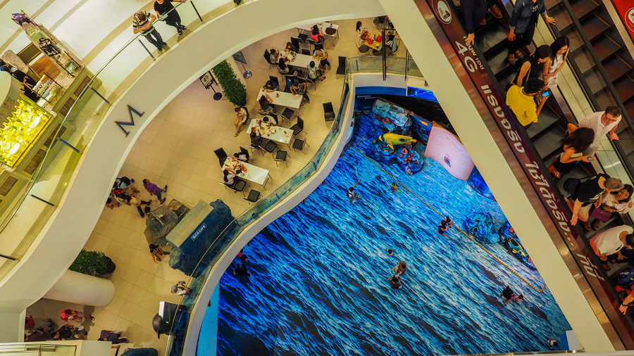 Architecture Built Structure Day Enjoyment High Angle View Illuminated Indoors  Large Group Of People Leisure Activity Lifestyles Men Mixed Age Range Modern People Real People Steps Swimming Pool Thai Department Store Vacations Water Weekend Activities Women