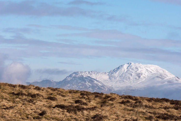 The iconic Ben Lomond Scotland Copy Space Scotland Beauty In Nature Ben Lomond Cold Temperature Day Highlands Iconic Landscape Mountain Mountain Range Nature No People Outdoors Scenics Sky Snow Snowcapped Mountain Tranquil Scene Tranquility Winter