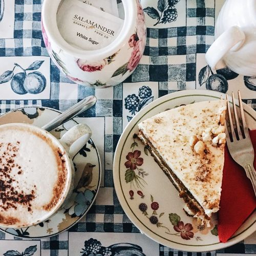 Food And Drink Drink Food Freshness Table Refreshment Coffee Cup Coffee - Drink Healthy Eating Indoors  Spoon Plate Cup Coffee Beverage Non-alcoholic Beverage Breakfast Cappuccino Directly Above Meal