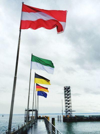 Flaggen am Hafen Flags ( Austria in foreground) at Harbour