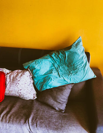 Couch sofa with pillow Blue Grey Lazy Day Rest Area Daybed Living Room Couch Yellow Orange Crumpled Paper Crumpled Fabric Pillow