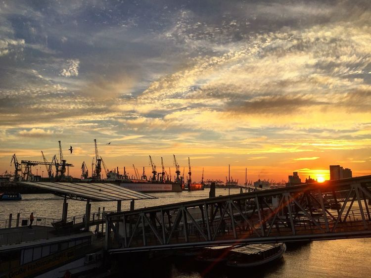 Sunset over Elbe Sunset Sky Architecture Water Cloud - Sky Building Exterior Built Structure City Nature No People Cityscape Waterfront River Transportation Connection Construction Equipment Building Orange Color Travel Destinations Outdoors