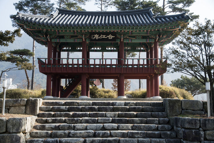 Hapgangjeong, Injegun, Gangwondo, South Korea Architecture Day Green Color Historic Place No People Outdoors Place Of Worship Sky Steps Travel Destinations Tree