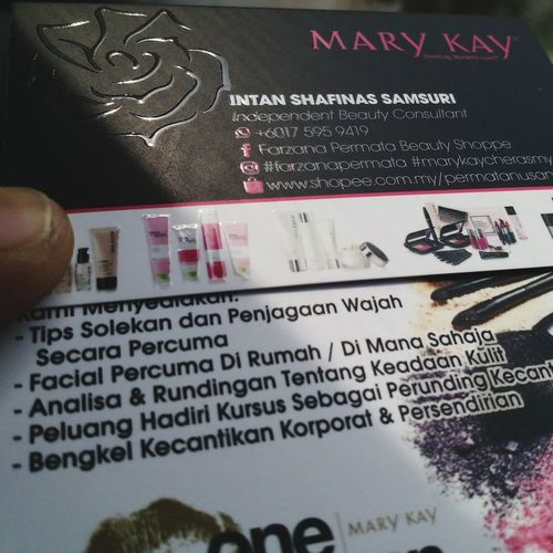 Mary Kay with UV Bizcards Communication Text Price Tag Close-up Capital Letter Display