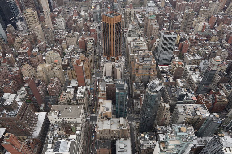 High angle view of city buildings