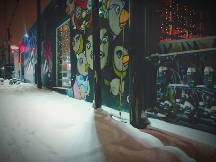 Graffiti Streetphotography Urbanphotography Street Photography Streetart Mural Urban Photography Urban Snow Covered Poetry Ink Midnight Store Indoors  No People Day Architecture