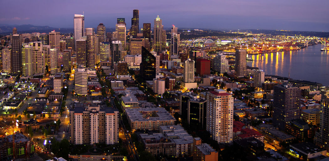 USA Travel Seattle, Washington Cityscape Night Photography Skyline Dusk High View City Lights Space Needle Bay Busy