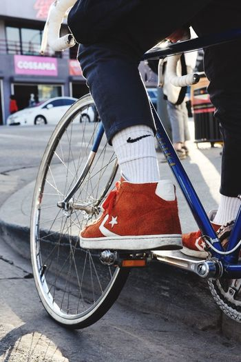 Just do it Converse Nike Bicycle Transportation Mode Of Transport Real People Outdoors Men Lifestyles