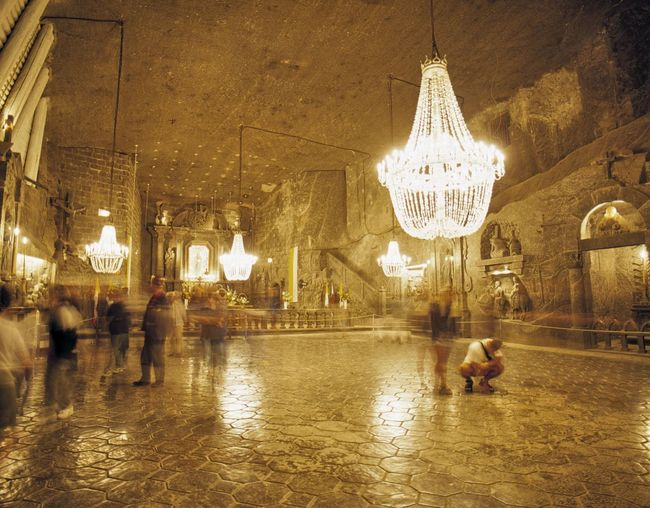 Poland, Wieliczka Salt Mine Architecture Building Exterior Built Structure Chandelier City City Life Famous Place Illuminated In Front Of Incidental People Lamp Night Person Poland Salt Saltmine  Tourism Unesco World Heritage UNESCO World Heritage Site Wieliczka Wieliczka Wieliczka Salt Mine