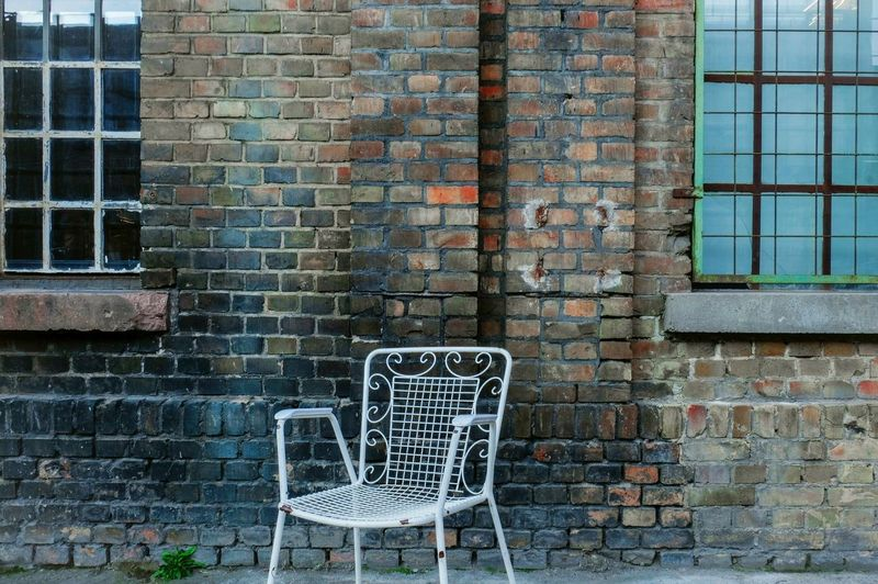 Architecture Brick Built Structure Building Exterior Brick Wall Wall Seat Day Window Wall - Building Feature Chair No People Empty Outdoors Absence Building City Still Life Copy Space Retro Vintage Forgotten Industry The Great Outdoors - 2019 EyeEm Awards