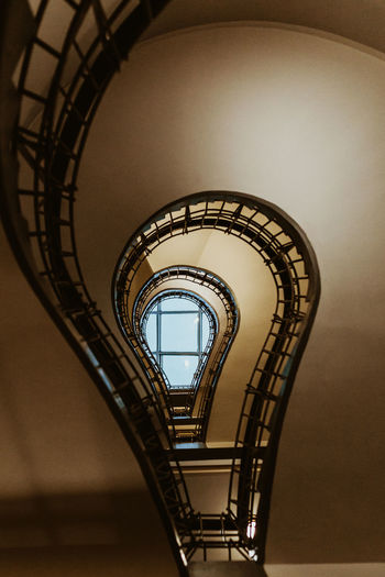 Spiral Built Structure Staircase Steps And Staircases Architecture Spiral Staircase Railing Indoors  No People Low Angle View Metal Design Building Repetition Diminishing Perspective Day In A Row Directly Below Illuminated Pattern Ceiling Electric Lamp Prague Prague Czech Republic
