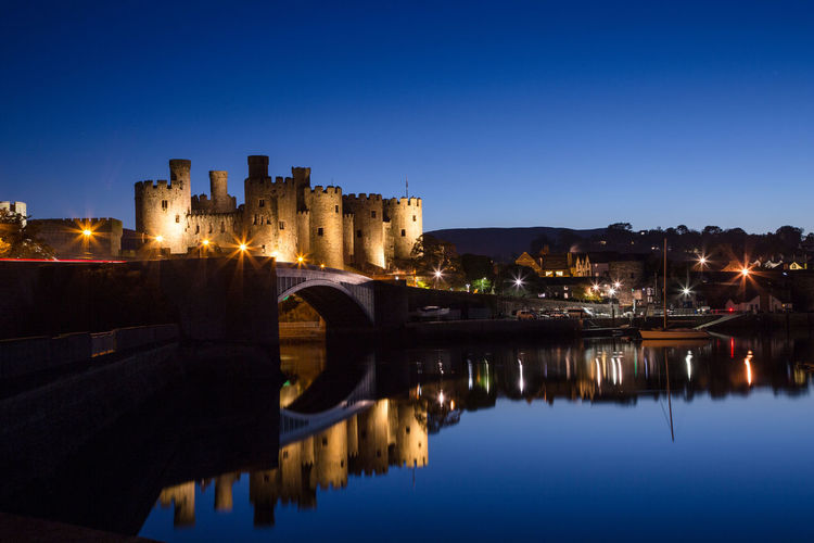 Conwy castle at night Architecture Building Exterior Built Structure Water Reflection Illuminated Sky Building Nature Night History The Past No People Waterfront Transportation Castle Travel Destinations City Blue Outdoors Arch Bridge Conwy Castle Conwy Castle At Night