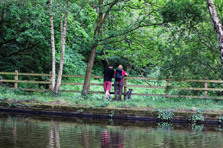Just looking. Canal Walks Adult Canal Path Couple - Relationship Day Dog Female Fence Forest Growth Leisure Activity Lifestyles Male Nature Outdoors People Plant Real People Reflection Togetherness Tree Two People Water Waterfront Women